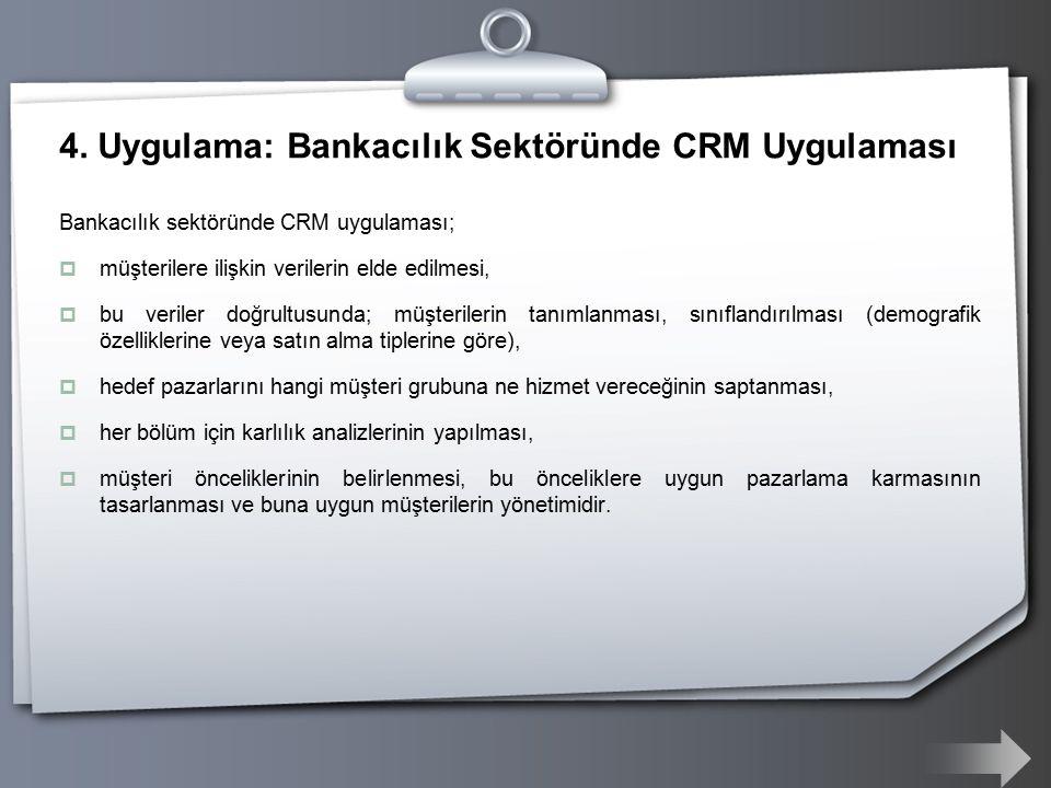 4. Uygulama: Bankacılık Sektöründe CRM Uygulaması