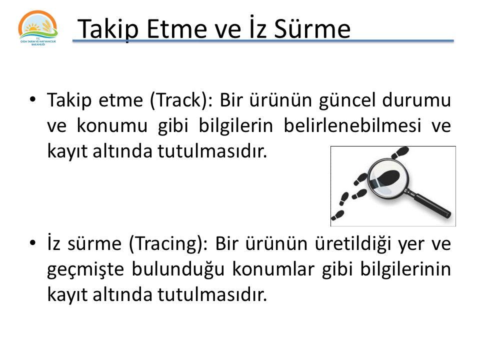 Takip Etme ve İz Sürme Takip etme (Track): Bir ürünün güncel durumu ve konumu gibi bilgilerin belirlenebilmesi ve kayıt altında tutulmasıdır.