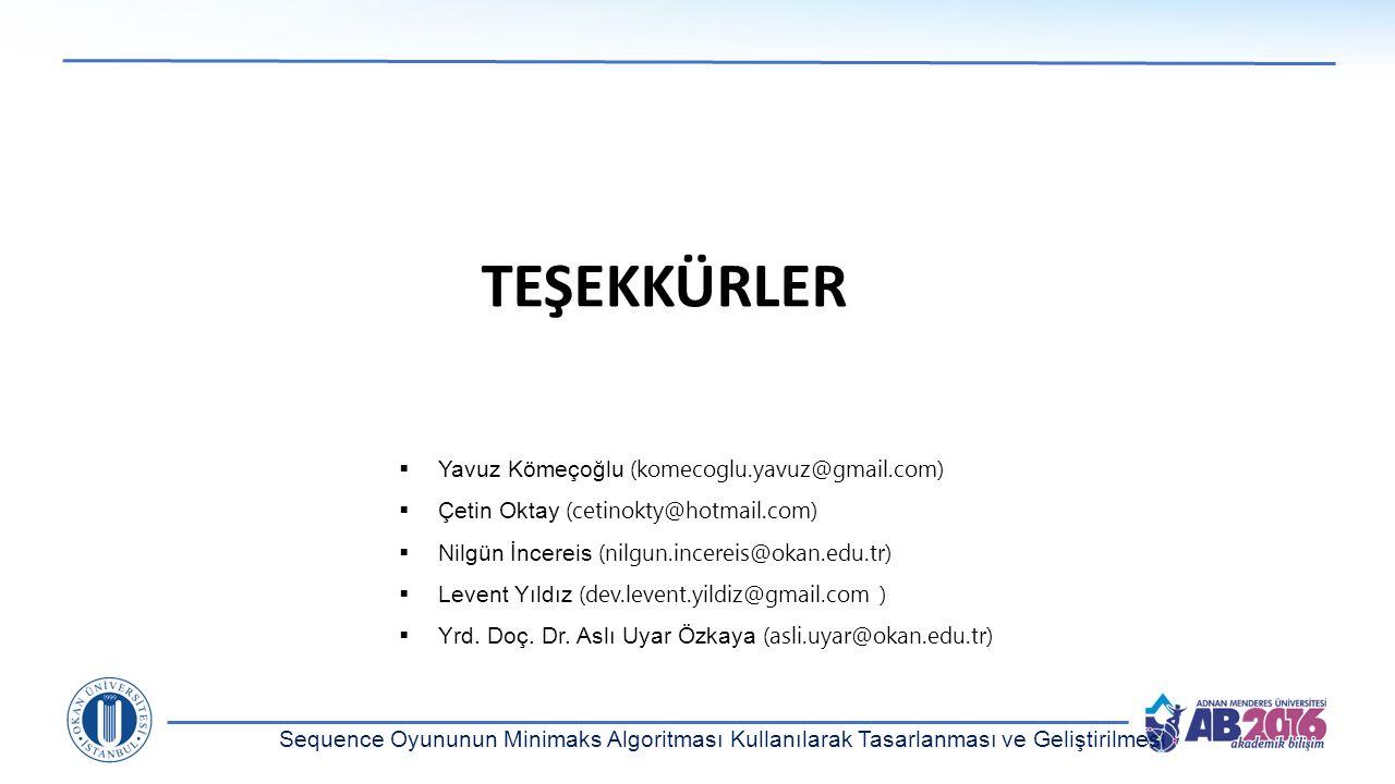 TEŞEKKÜRLER Yavuz Kömeçoğlu (komecoglu.yavuz@gmail.com)