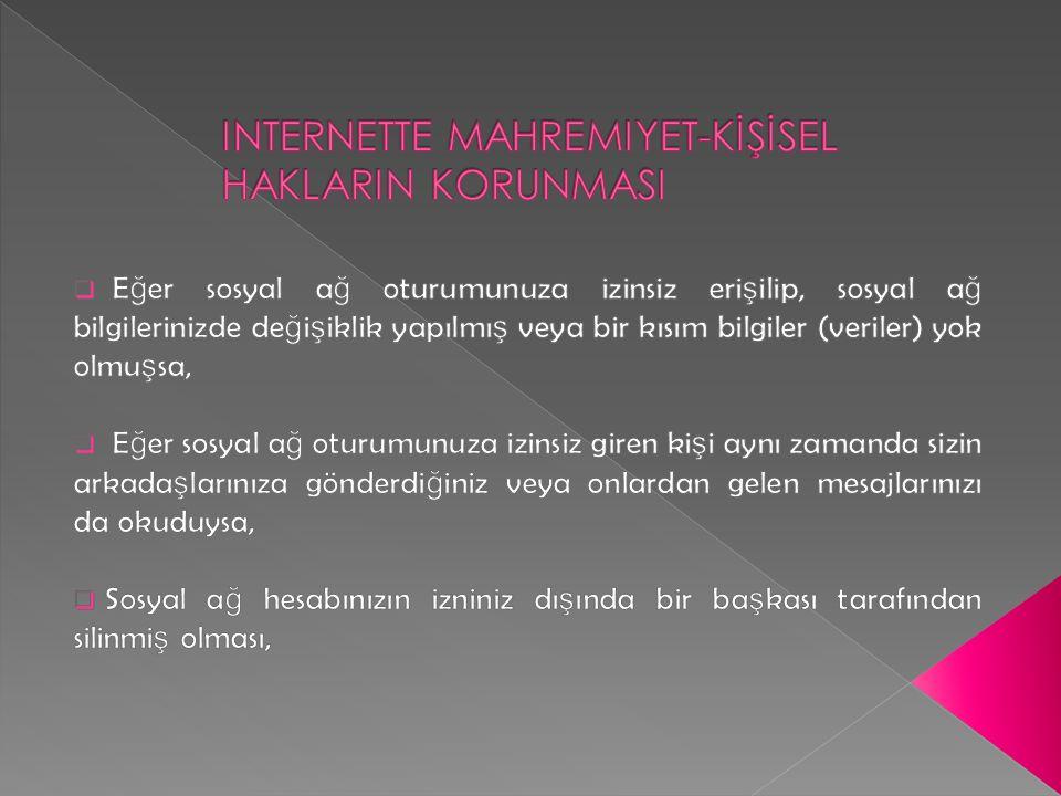 INTERNETTE MAHREMIYET-KİŞİSEL HAKLARIN KORUNMASI