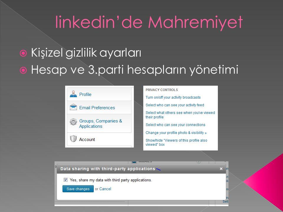 linkedin'de Mahremiyet