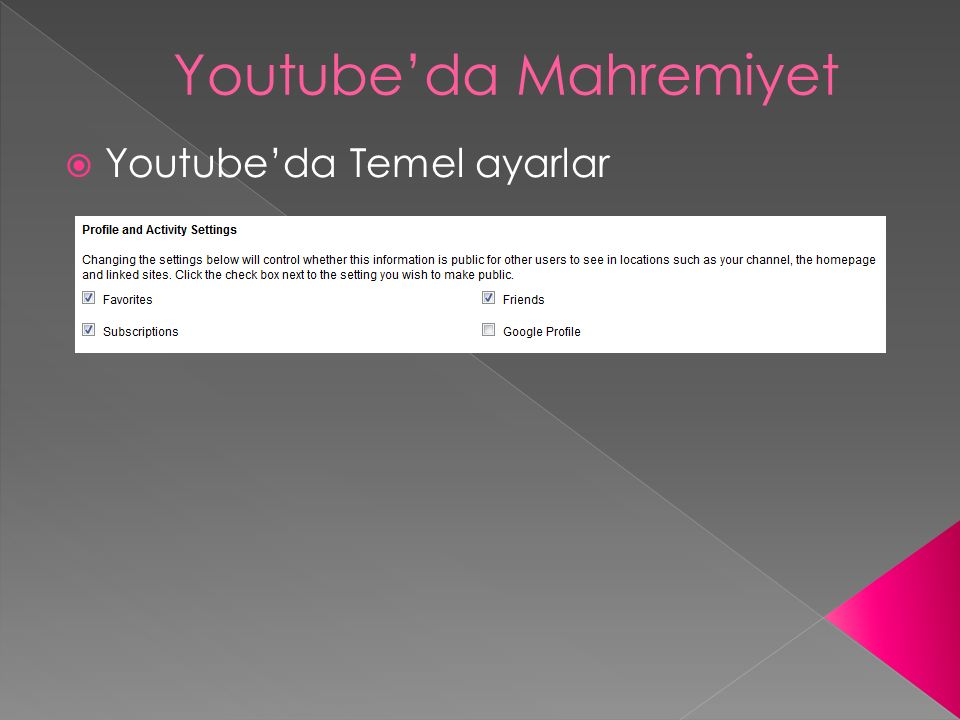 Youtube'da Mahremiyet