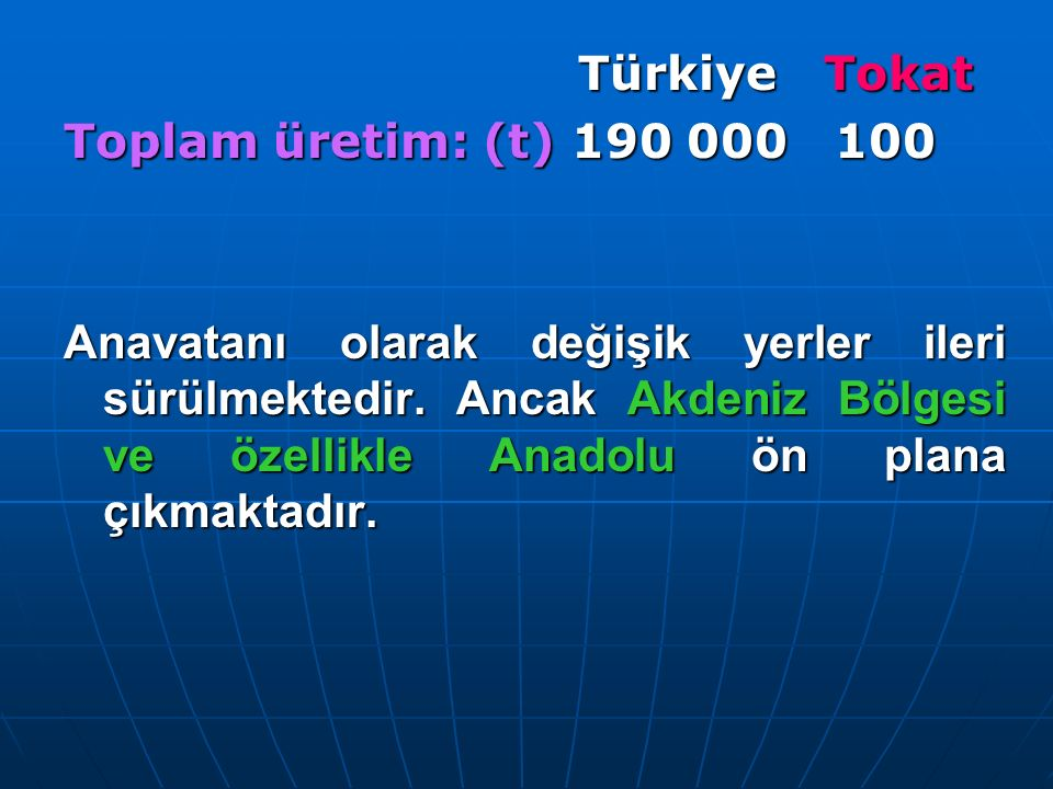Türkiye Tokat Toplam üretim: (t) 190 000 100.