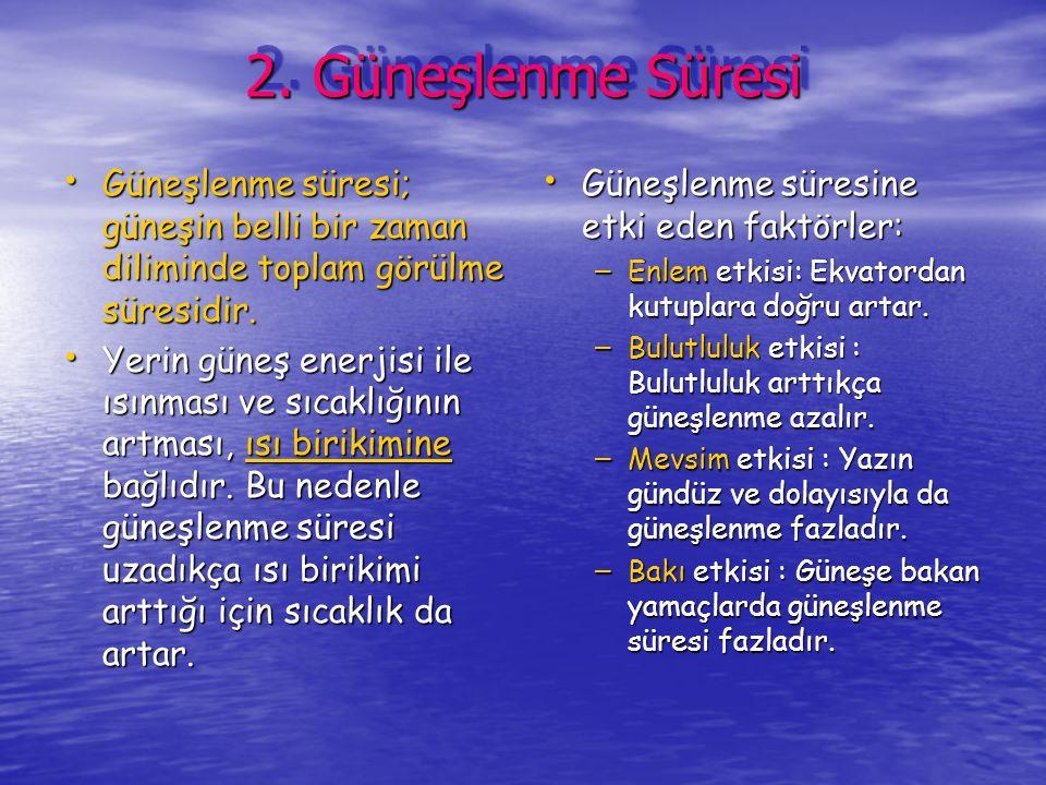 2. Güneşlenme Süresi Güneşlenme süresi; güneşin belli bir zaman diliminde toplam görülme süresidir.
