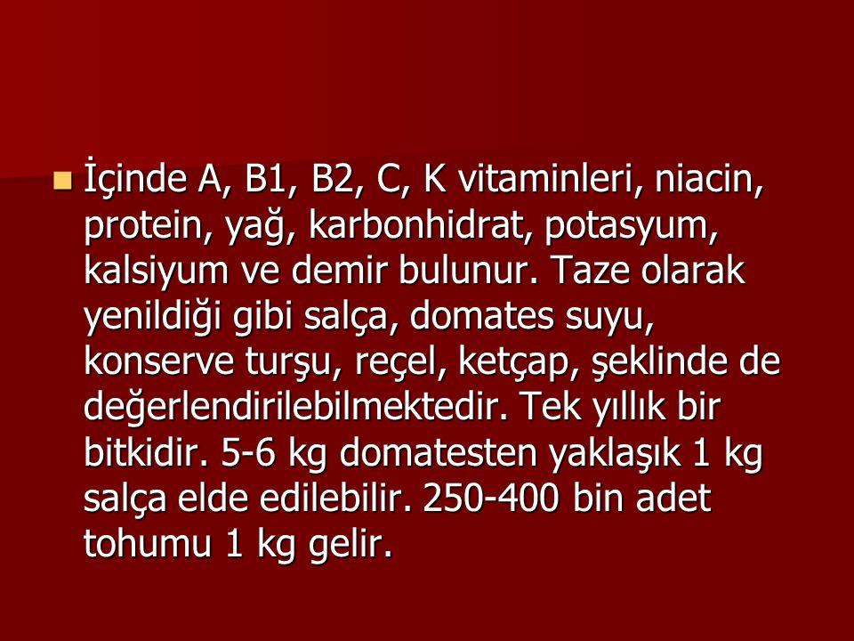 İçinde A, B1, B2, C, K vitaminleri, niacin, protein, yağ, karbonhidrat, potasyum, kalsiyum ve demir bulunur.