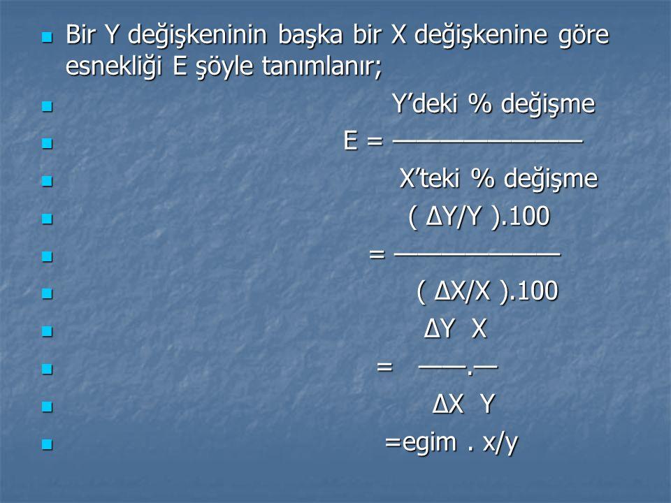 Bir Y değişkeninin başka bir X değişkenine göre esnekliği E şöyle tanımlanır;