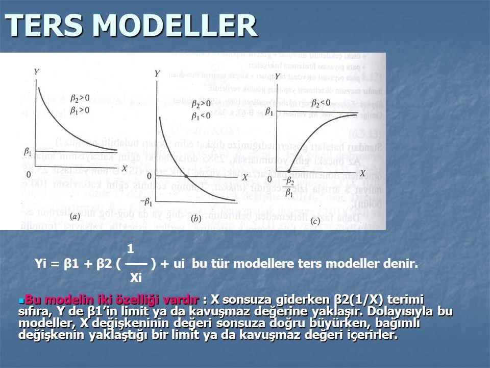 Yi = β1 + β2 ( —— ) + ui bu tür modellere ters modeller denir.