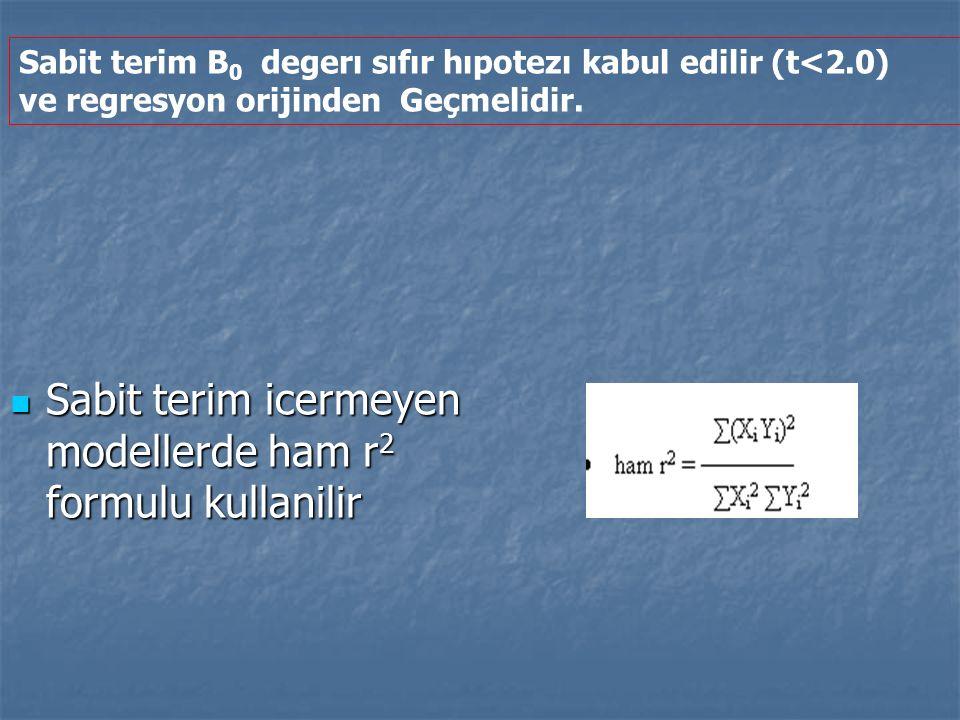 Sabit terim icermeyen modellerde ham r2 formulu kullanilir