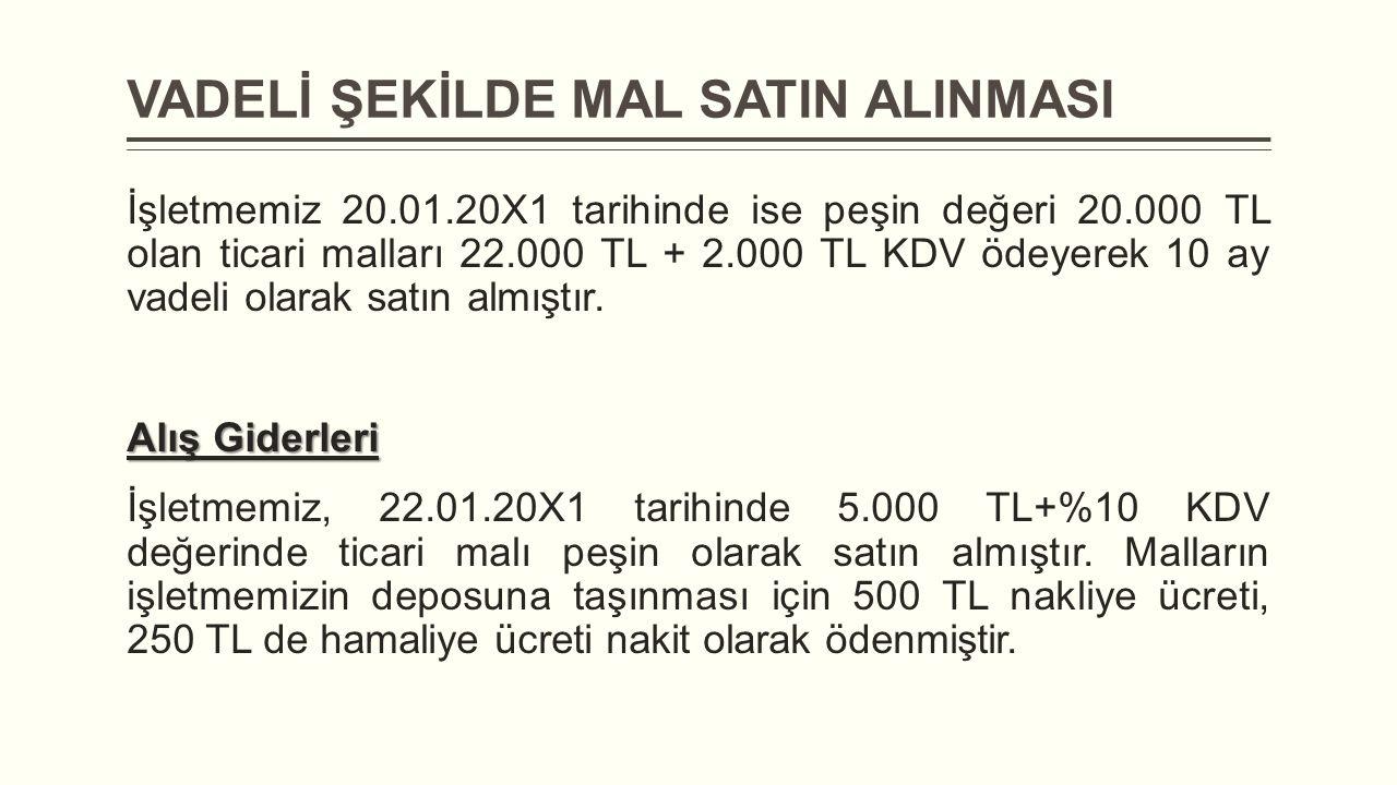 VADELİ ŞEKİLDE MAL SATIN ALINMASI