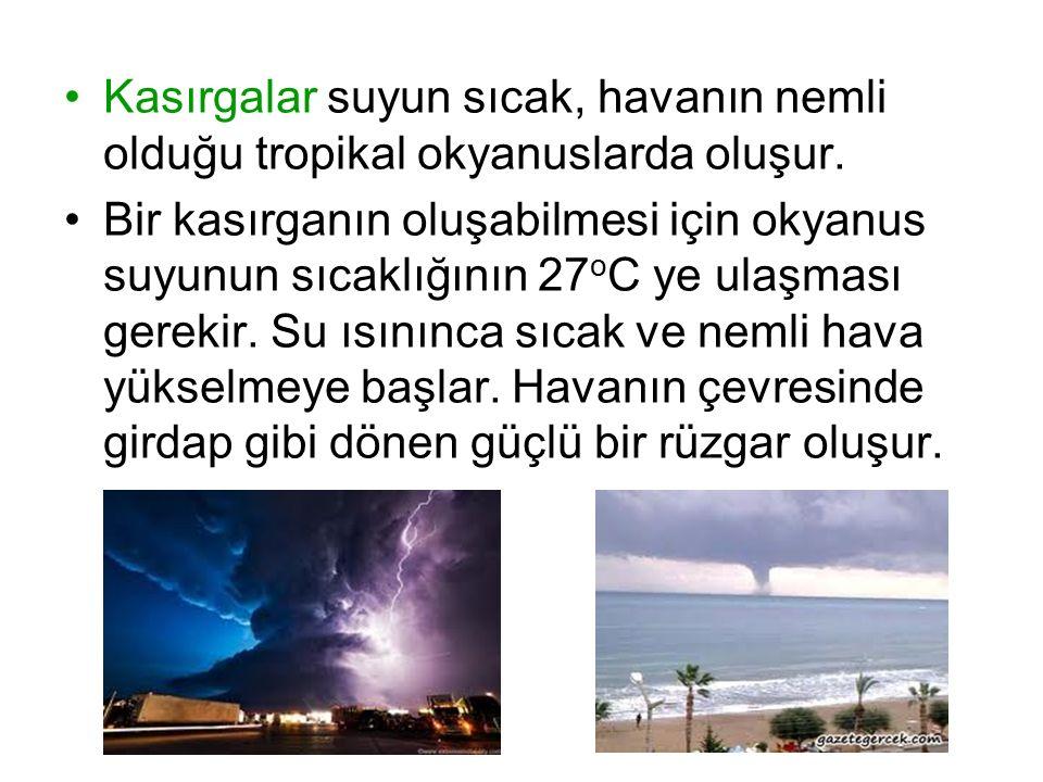 Kasırgalar suyun sıcak, havanın nemli olduğu tropikal okyanuslarda oluşur.