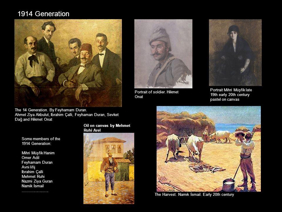 1914 Generation Portrait Mihri Müşfik late 19th early 20th century pastel on canvas. Portrait of soldier. Hikmet Onat.