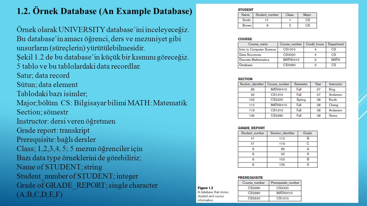 1.2. Örnek Database (An Example Database)