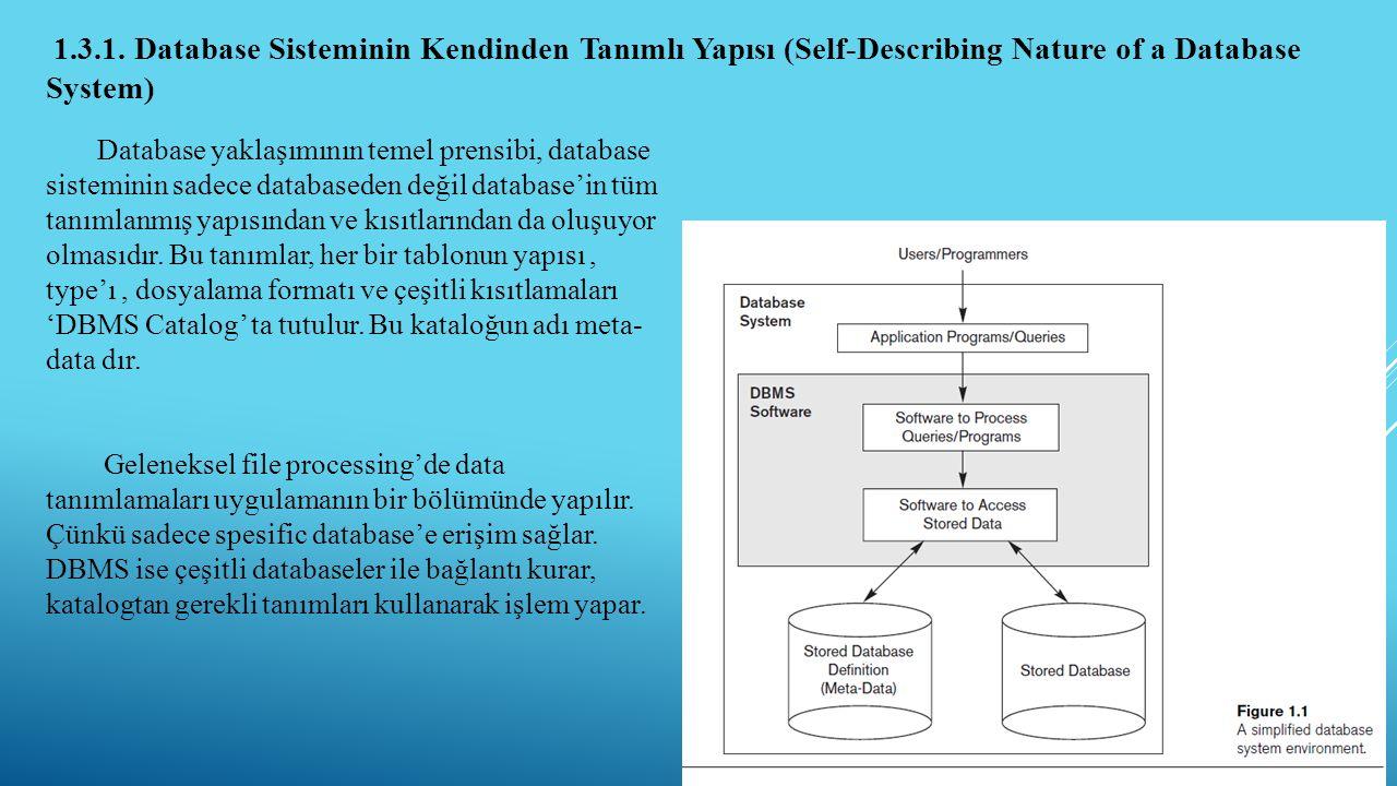 1.3.1. Database Sisteminin Kendinden Tanımlı Yapısı (Self-Describing Nature of a Database System)