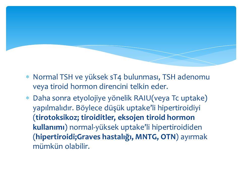 Normal TSH ve yüksek sT4 bulunması, TSH adenomu veya tiroid hormon direncini telkin eder.