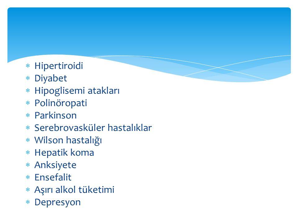 Hipertiroidi Diyabet. Hipoglisemi atakları. Polinöropati. Parkinson. Serebrovasküler hastalıklar.
