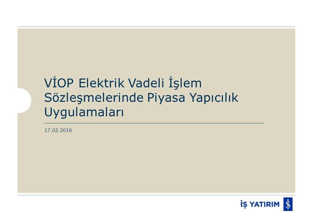Elektrik Vadeli İşlem Sözleşmeleri Piyasa Yapıcılık Uygulamaları