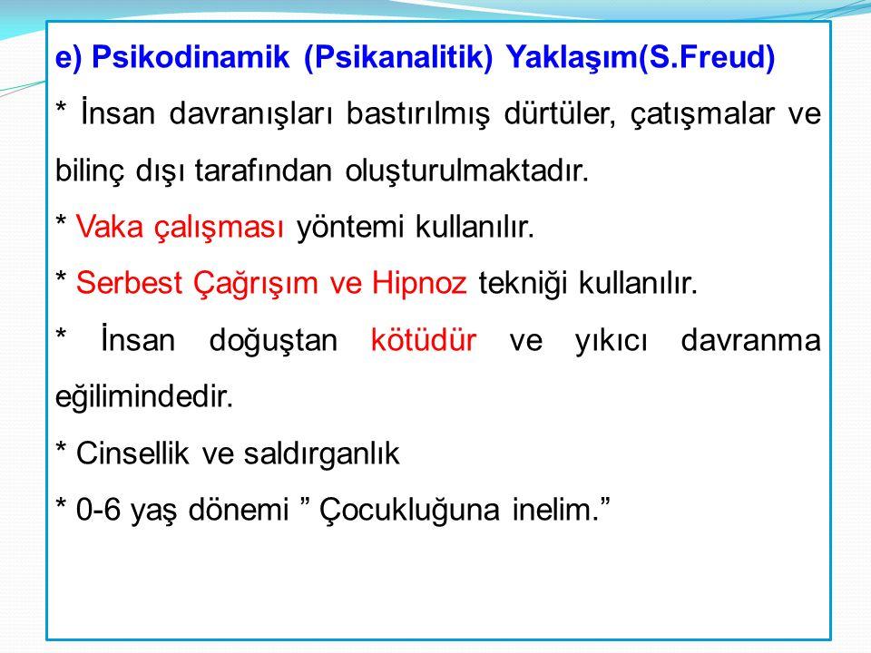 e) Psikodinamik (Psikanalitik) Yaklaşım(S. Freud)