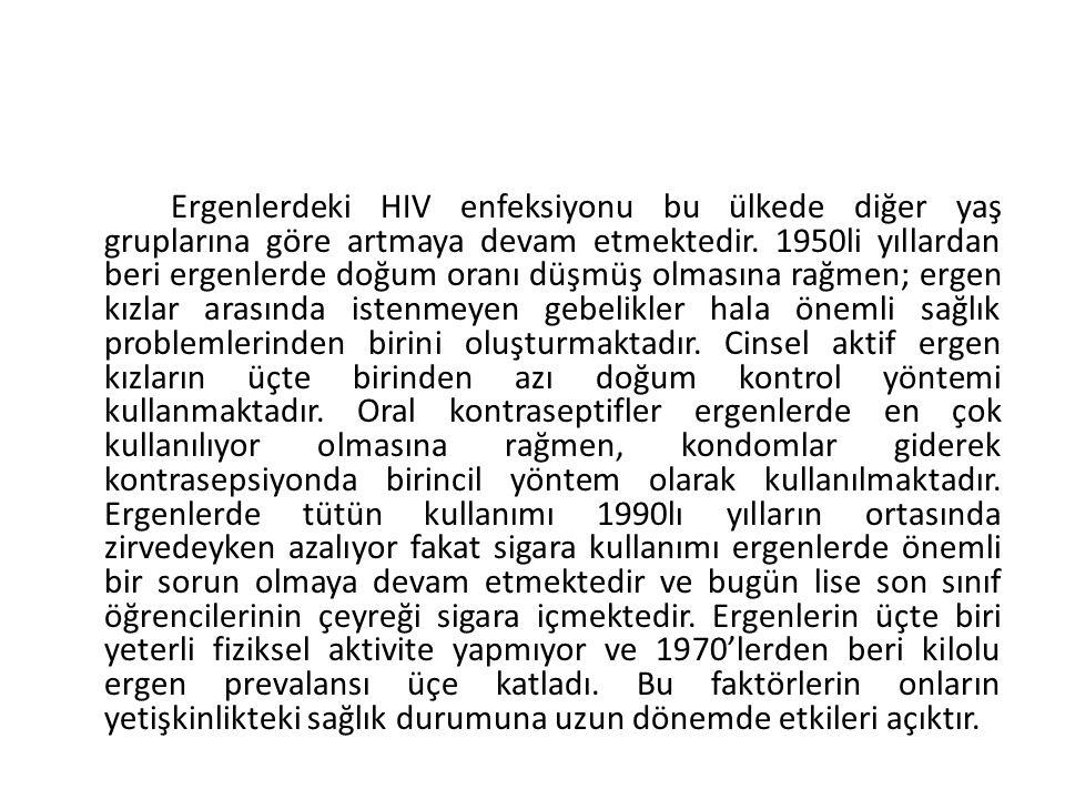 Ergenlerdeki HIV enfeksiyonu bu ülkede diğer yaş gruplarına göre artmaya devam etmektedir.