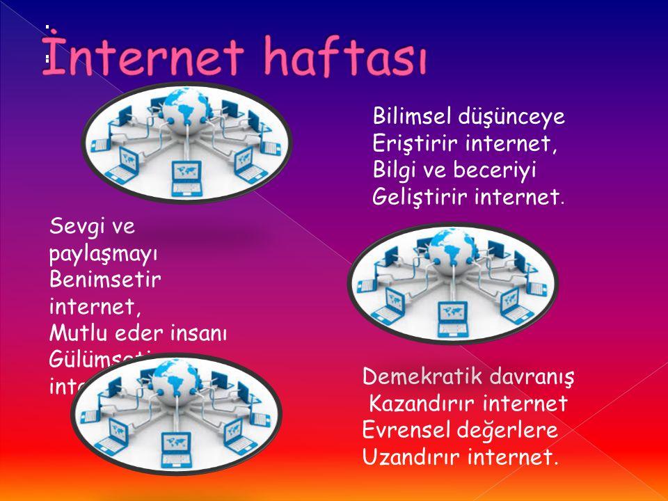 İnternet haftası Bilimsel düşünceye Eriştirir internet, Bilgi ve beceriyi Geliştirir internet.