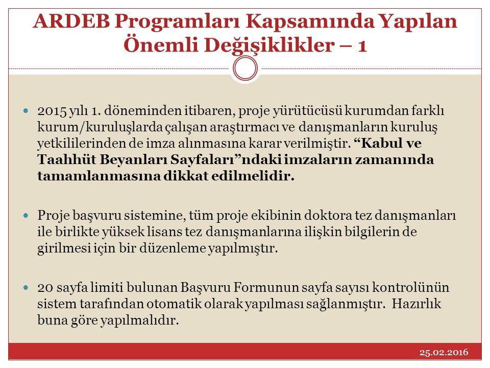 ARDEB Programları Kapsamında Yapılan Önemli Değişiklikler – 1