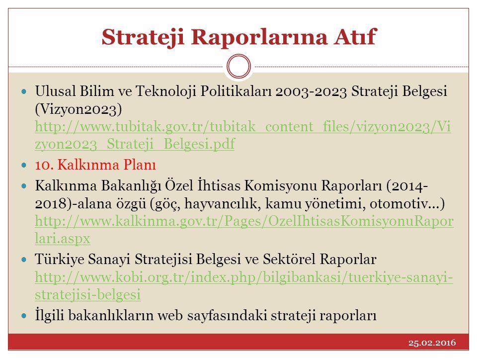 Strateji Raporlarına Atıf