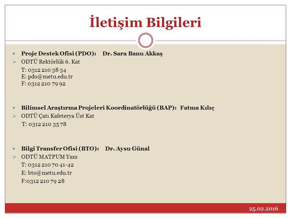 İletişim Bilgileri Proje Destek Ofisi (PDO): Dr. Sara Banu Akkaş