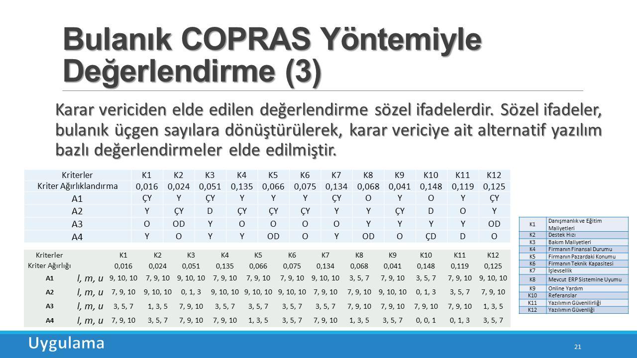 Bulanık COPRAS Yöntemiyle Değerlendirme (3)