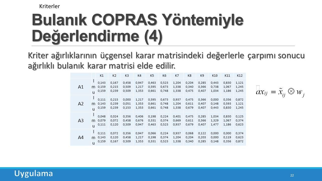Bulanık COPRAS Yöntemiyle Değerlendirme (4)