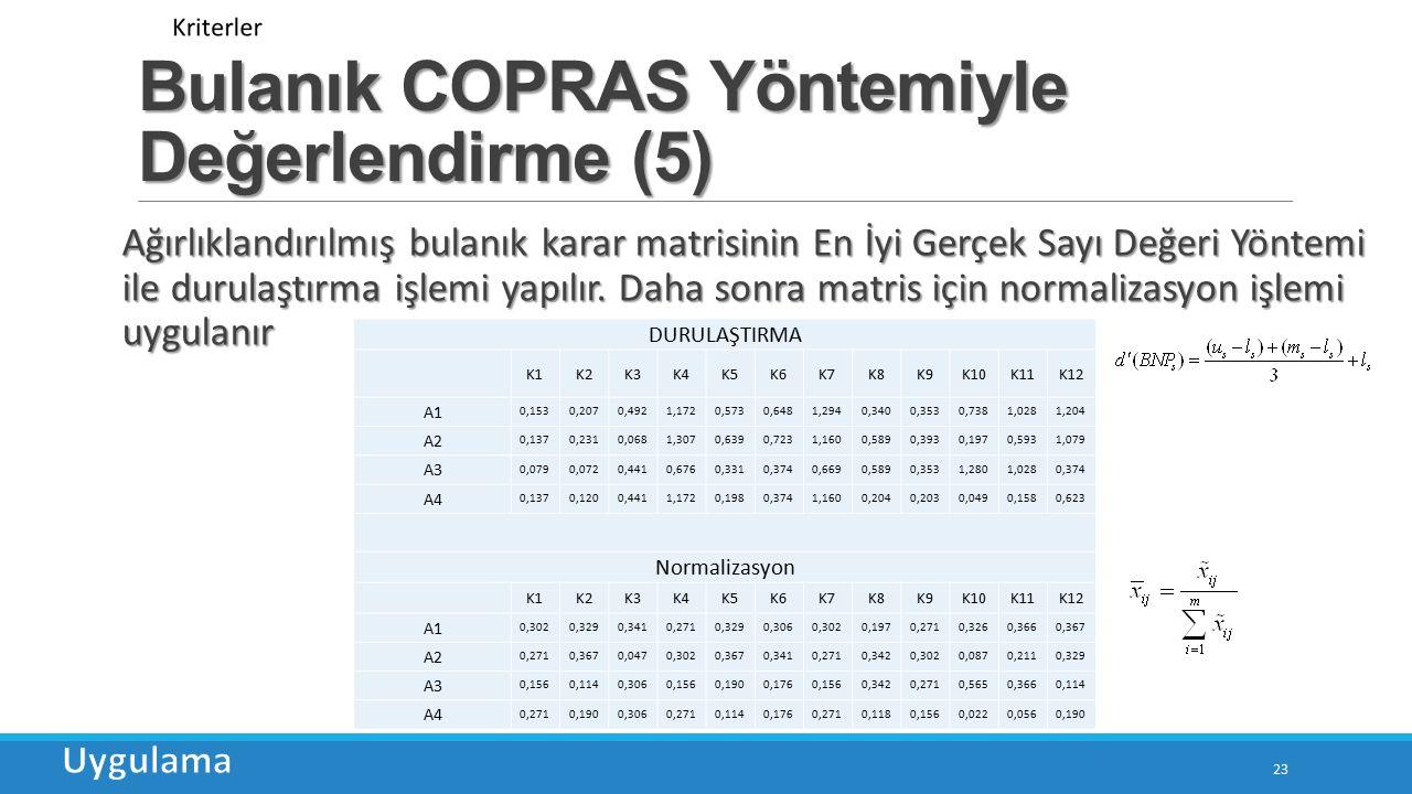 Bulanık COPRAS Yöntemiyle Değerlendirme (5)