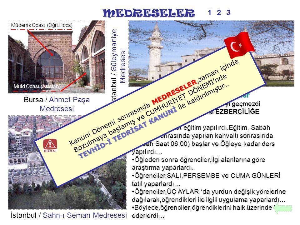 MEDRESELER 1 2 3 İstanbul / Süleymaniye Medresesi Medreselerde Dersler