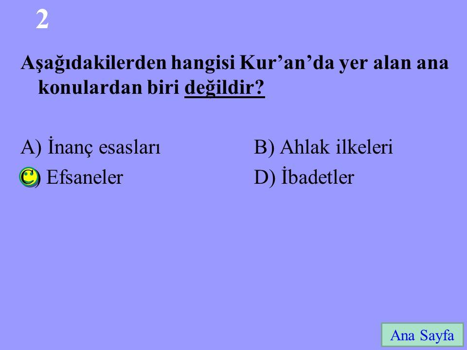 2 Aşağıdakilerden hangisi Kur'an'da yer alan ana konulardan biri değildir A) İnanç esasları B) Ahlak ilkeleri.