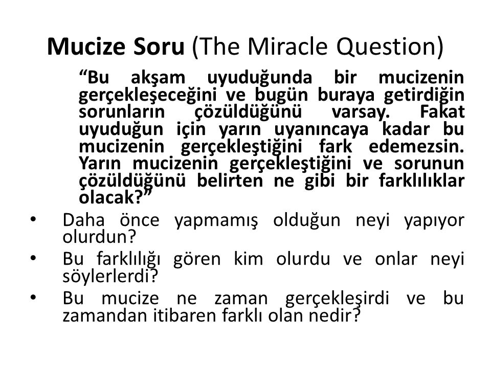 Mucize Soru (The Miracle Question)