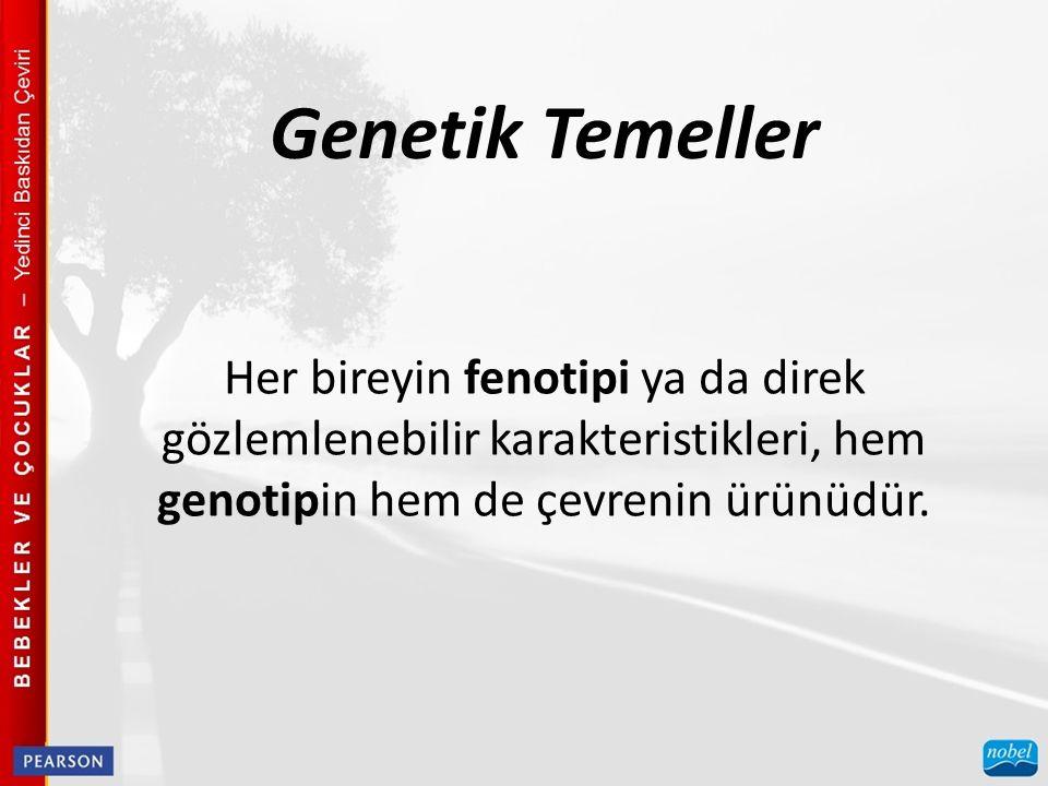 Genetik Temeller Her bireyin fenotipi ya da direk gözlemlenebilir karakteristikleri, hem genotipin hem de çevrenin ürünüdür.