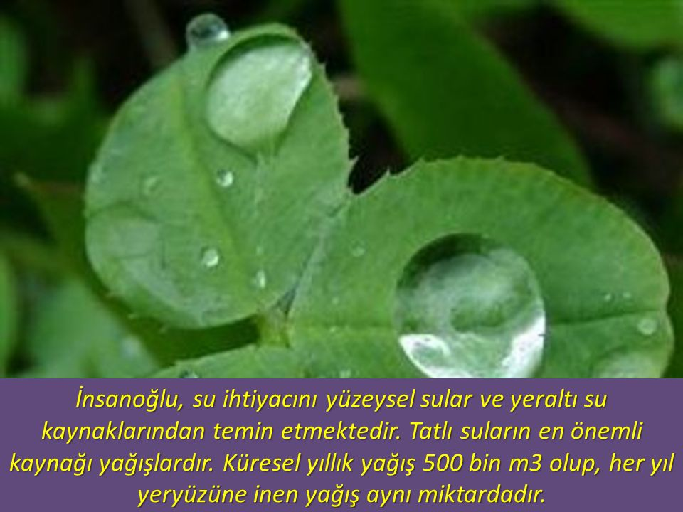 İnsanoğlu, su ihtiyacını yüzeysel sular ve yeraltı su kaynaklarından temin etmektedir.