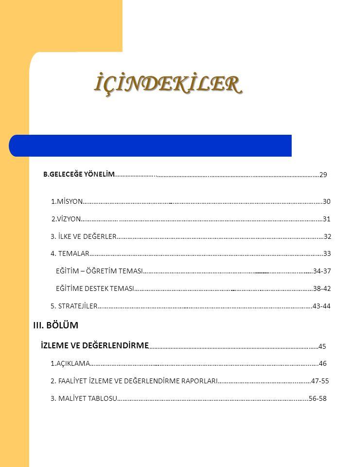 İÇİNDEKİLER III . BÖLÜM İZLEME VE DEĞERLENDİRME B. G ELECEĞE Y ÖNELİM