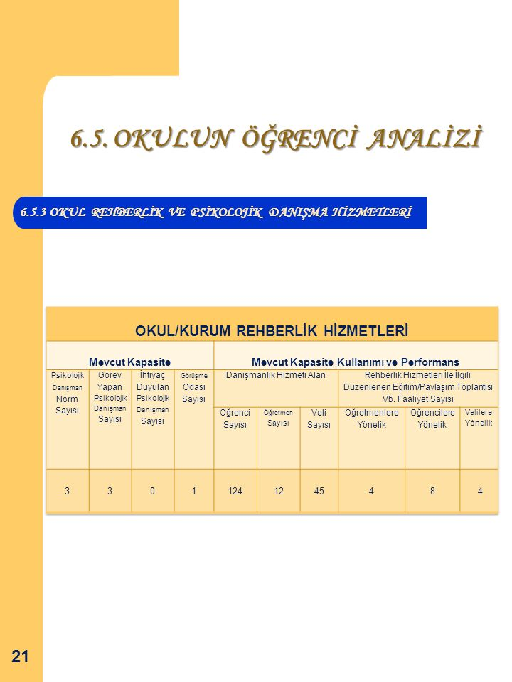 6.5.3 OKUL REHBERLİK VE PSİKOLOJİK DANIŞMA HİZMETLERİ