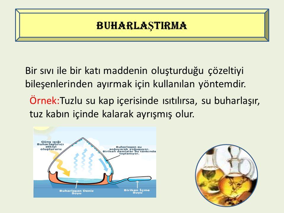 BUHARLAŞTIRMA Bir sıvı ile bir katı maddenin oluşturduğu çözeltiyi bileşenlerinden ayırmak için kullanılan yöntemdir.