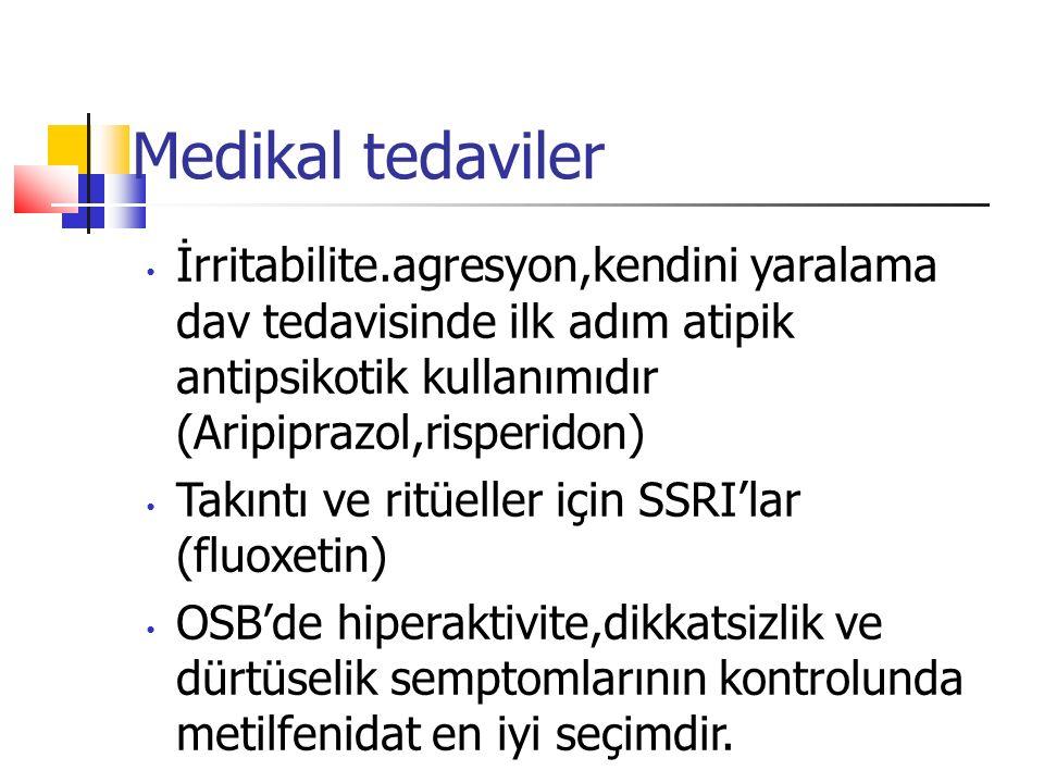Medikal tedaviler İrritabilite.agresyon,kendini yaralama dav tedavisinde ilk adım atipik antipsikotik kullanımıdır (Aripiprazol,risperidon)