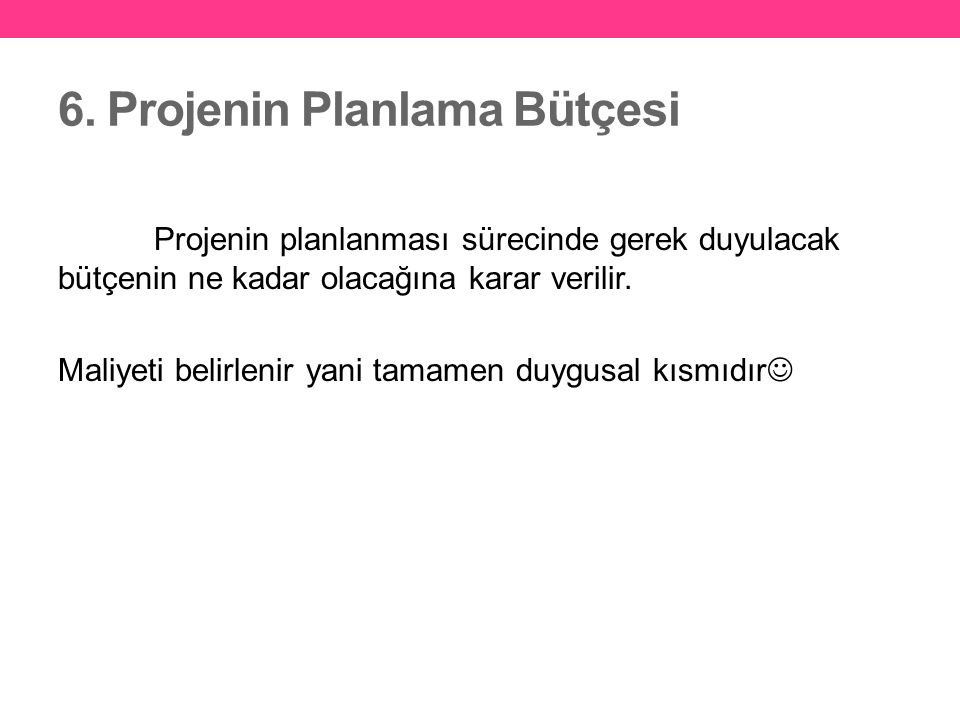 6. Projenin Planlama Bütçesi