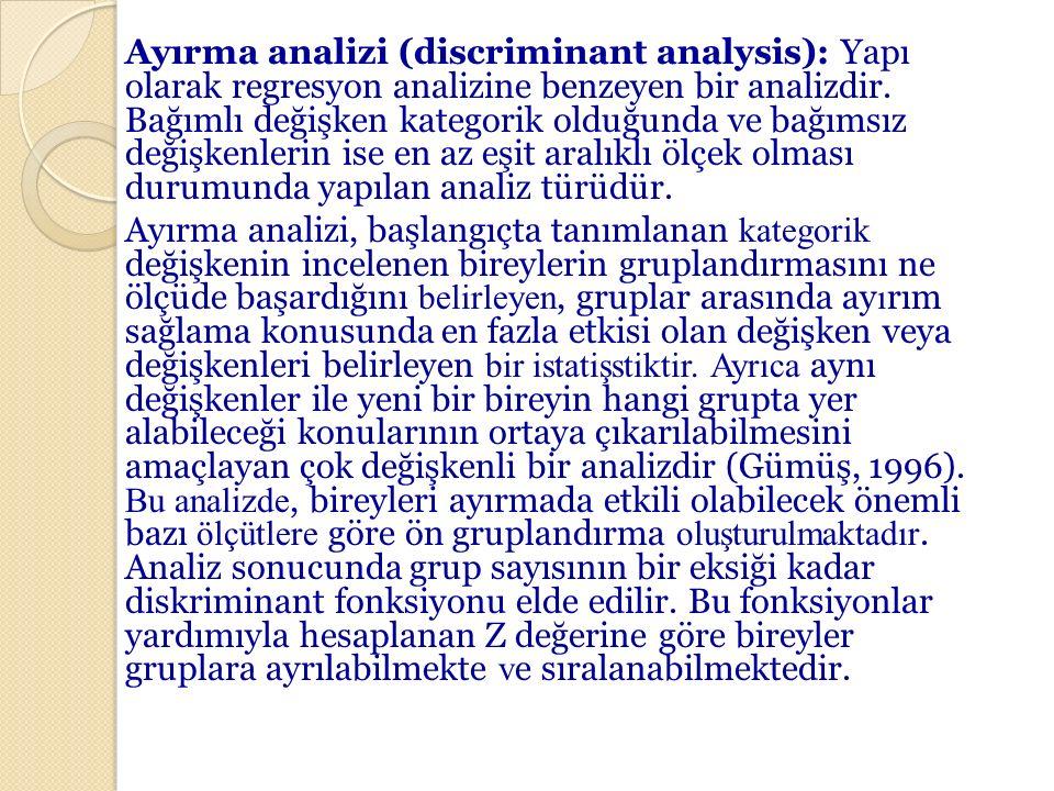 Ayırma analizi (discriminant analysis): Yapı olarak regresyon analizine benzeyen bir analizdir.