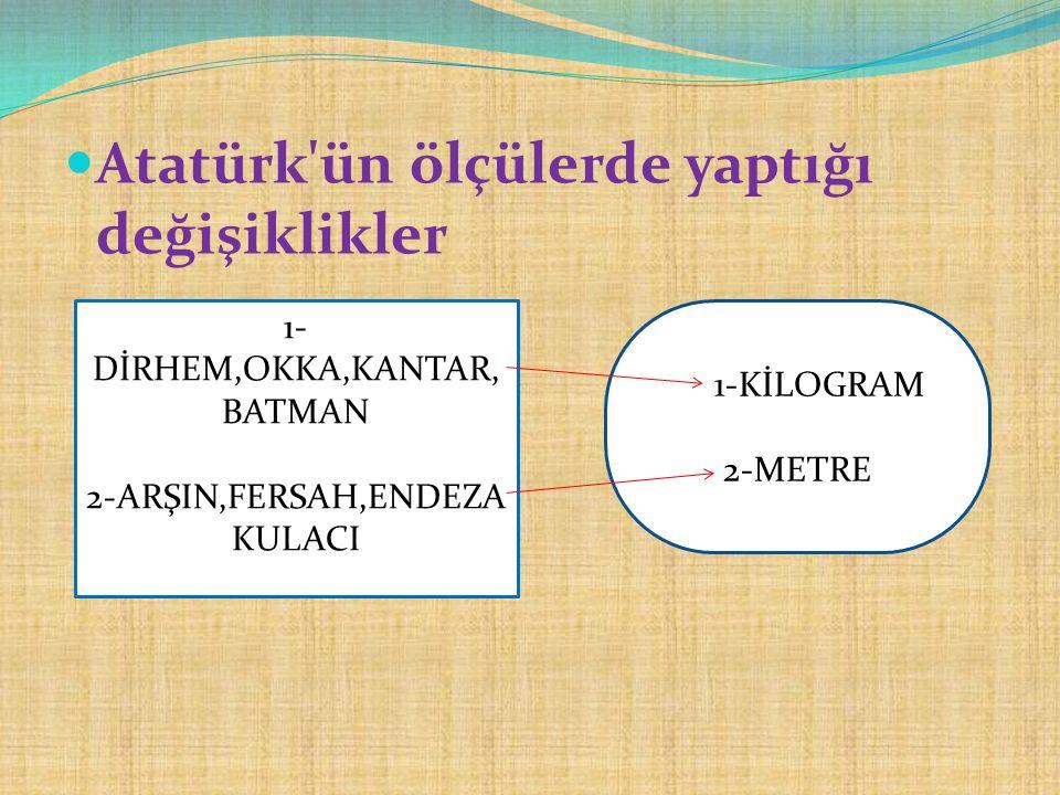Atatürk ün ölçülerde yaptığı değişiklikler