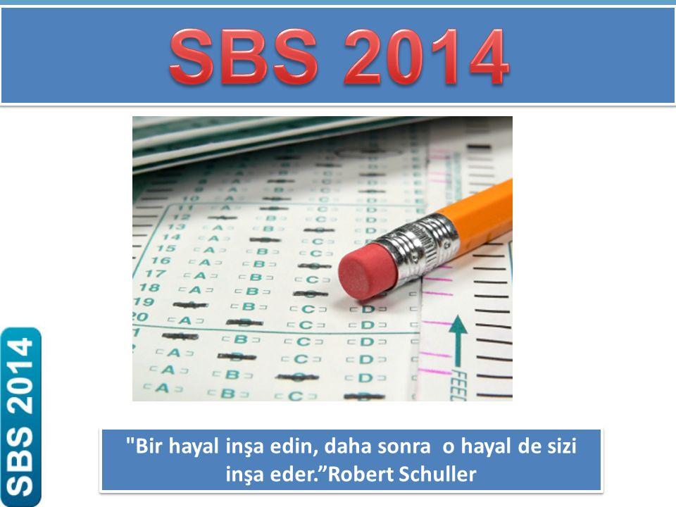 SBS 2014 Bir hayal inşa edin, daha sonra o hayal de sizi inşa eder. Robert Schuller