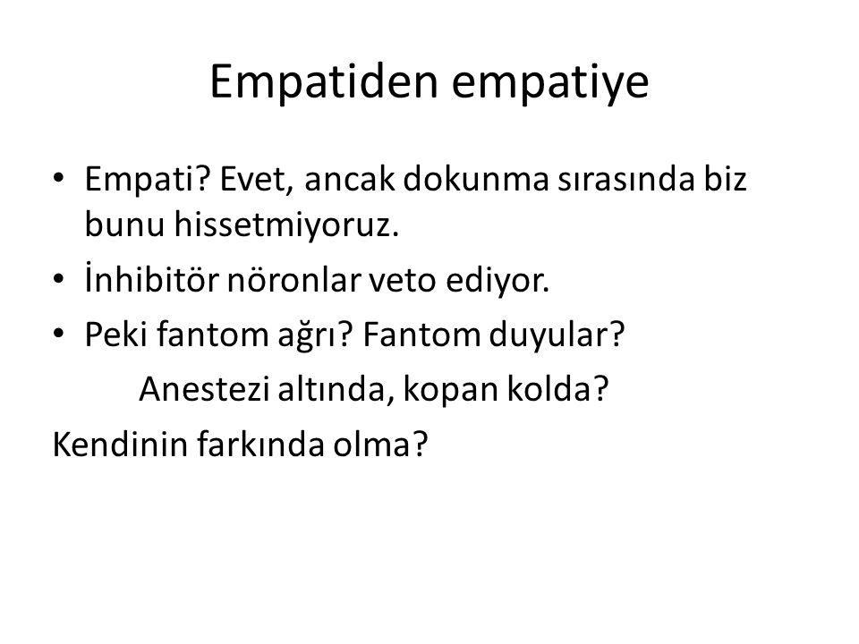 Empatiden empatiye Empati Evet, ancak dokunma sırasında biz bunu hissetmiyoruz. İnhibitör nöronlar veto ediyor.