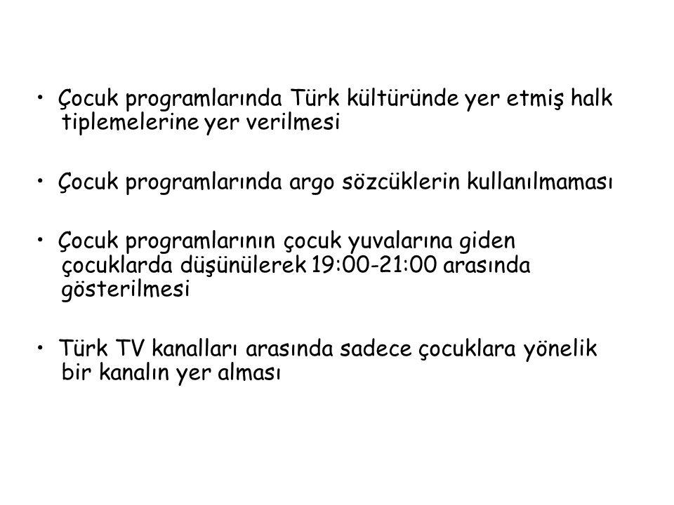• Çocuk programlarında Türk kültüründe yer etmiş halk tiplemelerine yer verilmesi