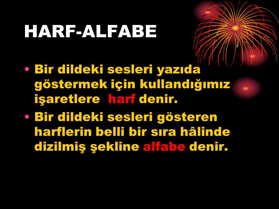 HARF-ALFABE Bir dildeki sesleri yazıda göstermek için kullandığımız işaretlere harf denir.