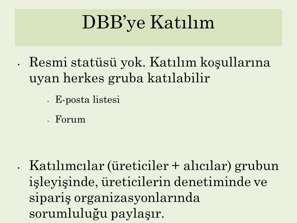 DBB'ye Katılım Resmi statüsü yok. Katılım koşullarına uyan herkes gruba katılabilir. E-posta listesi.