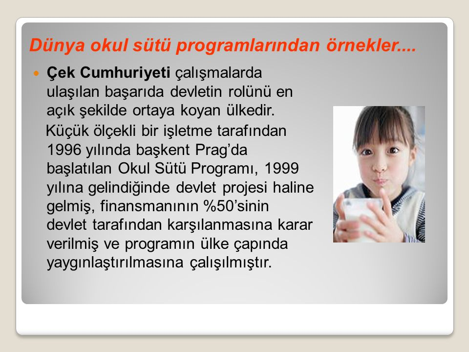 Dünya okul sütü programlarından örnekler....