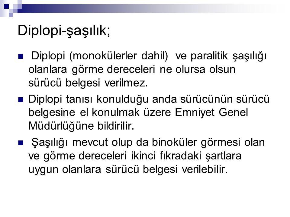 Diplopi-şaşılık; Diplopi (monokülerler dahil) ve paralitik şaşılığı olanlara görme dereceleri ne olursa olsun sürücü belgesi verilmez.