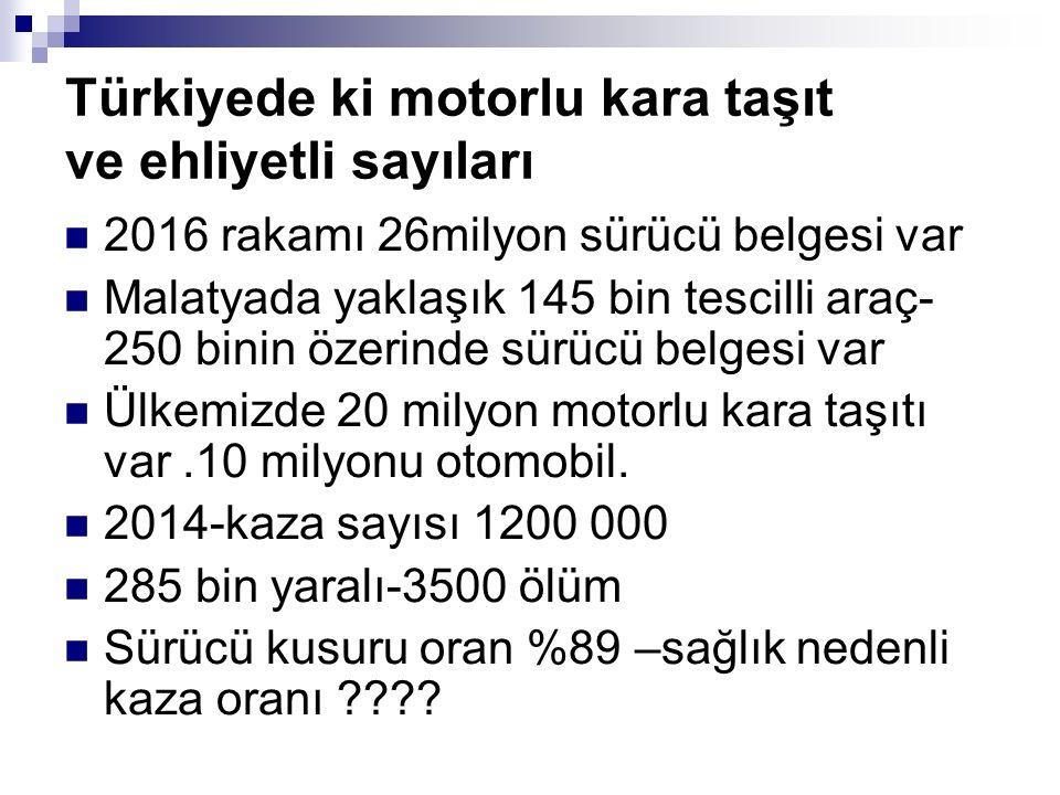 Türkiyede ki motorlu kara taşıt ve ehliyetli sayıları