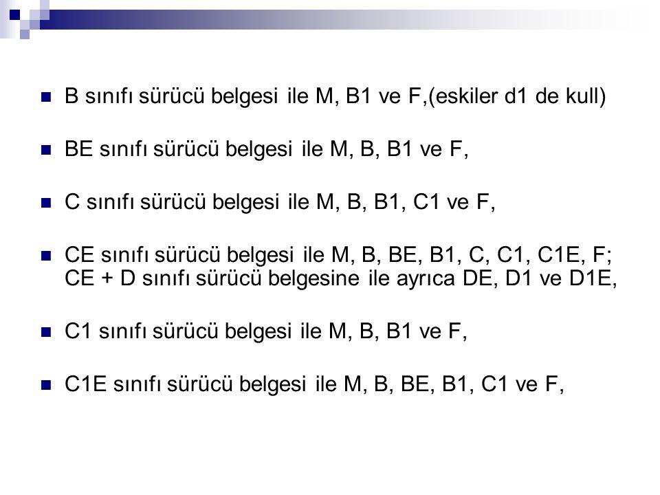 B sınıfı sürücü belgesi ile M, B1 ve F,(eskiler d1 de kull)